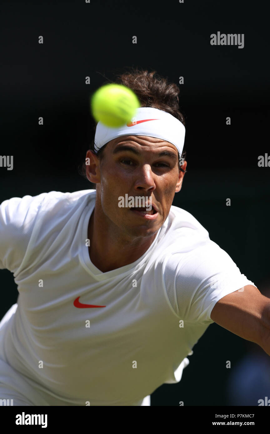 London, UK. 7th July 2018.The Wimbledon Tennis Championships, Day 6; Rafael Nadal (ESP) during his third round match against Alex De Minaur (AUS) Credit: Action Plus Sports Images/Alamy Live News Credit: Action Plus Sports Images/Alamy Live News Credit: Action Plus Sports Images/Alamy Live News Stock Photo