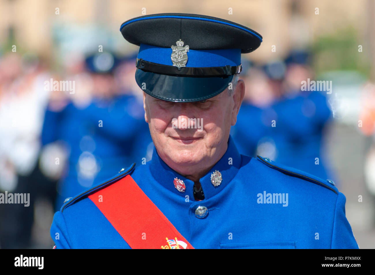 Glasgow, Scotland, UK. 7th July, 2018. A male band member wearing a uniform taking part in the annual Orange Walk through the streets of the city to mark the victory of Prince William of Orange over King James II at the Battle of the Boyne in 1690. Credit: Skully/Alamy Live News - Stock Image