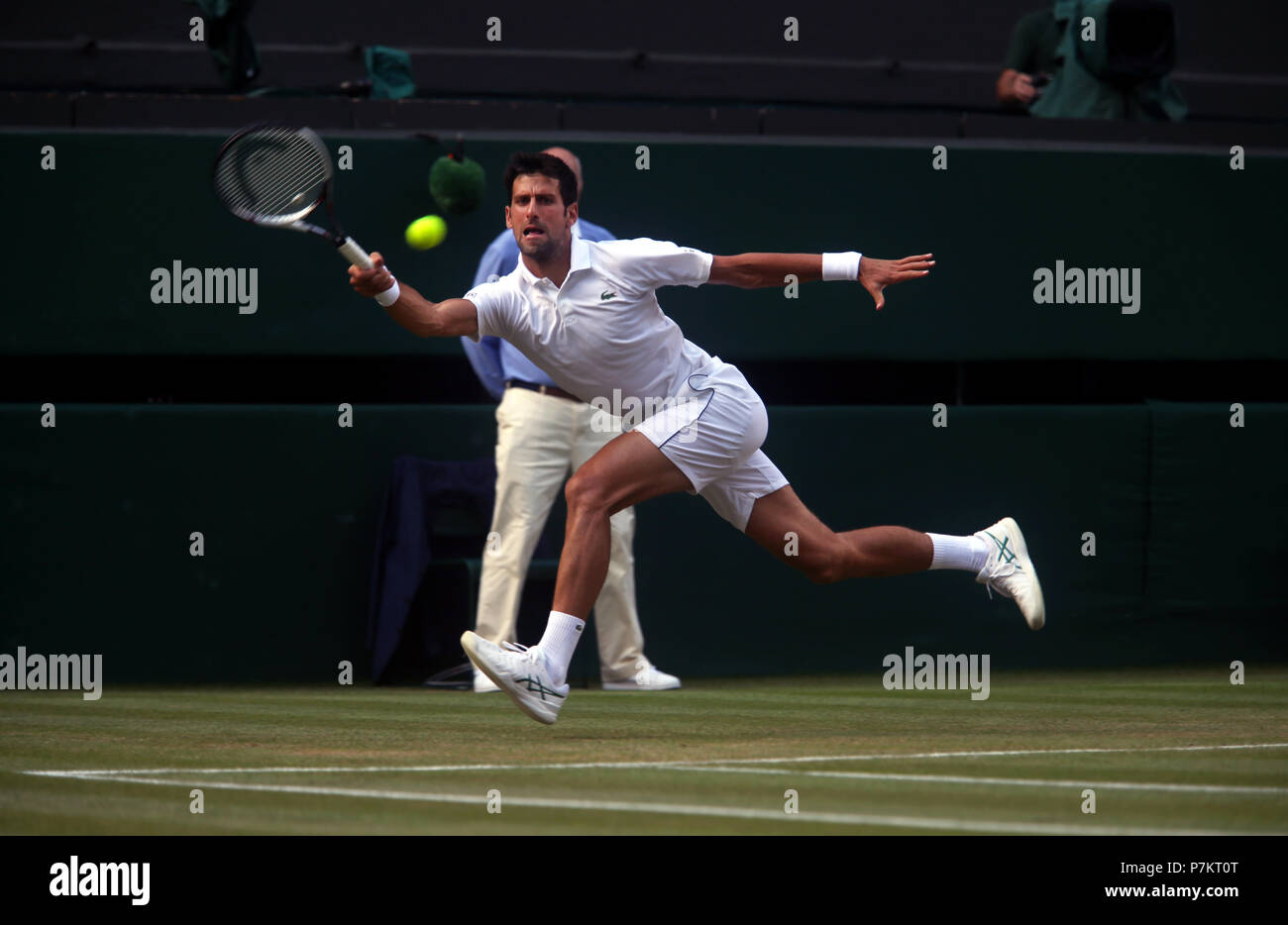 London, UK. 7th July 2018.   Wimbledon Tennis: Novak Djokovic during his third round match against Great Britain's Kyle Edmund on Center Court at Wimbledon today. Credit: Adam Stoltman/Alamy Live News - Stock Image
