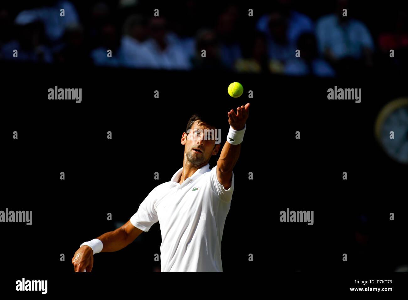 London, UK. 7th July 2018.   Wimbledon Tennis: Novak Djokovic during his third round match against Great Britain's Kyle Edmund on Center Court at Wimbledon today. Credit: Adam Stoltman/Alamy Live News - Stock Image