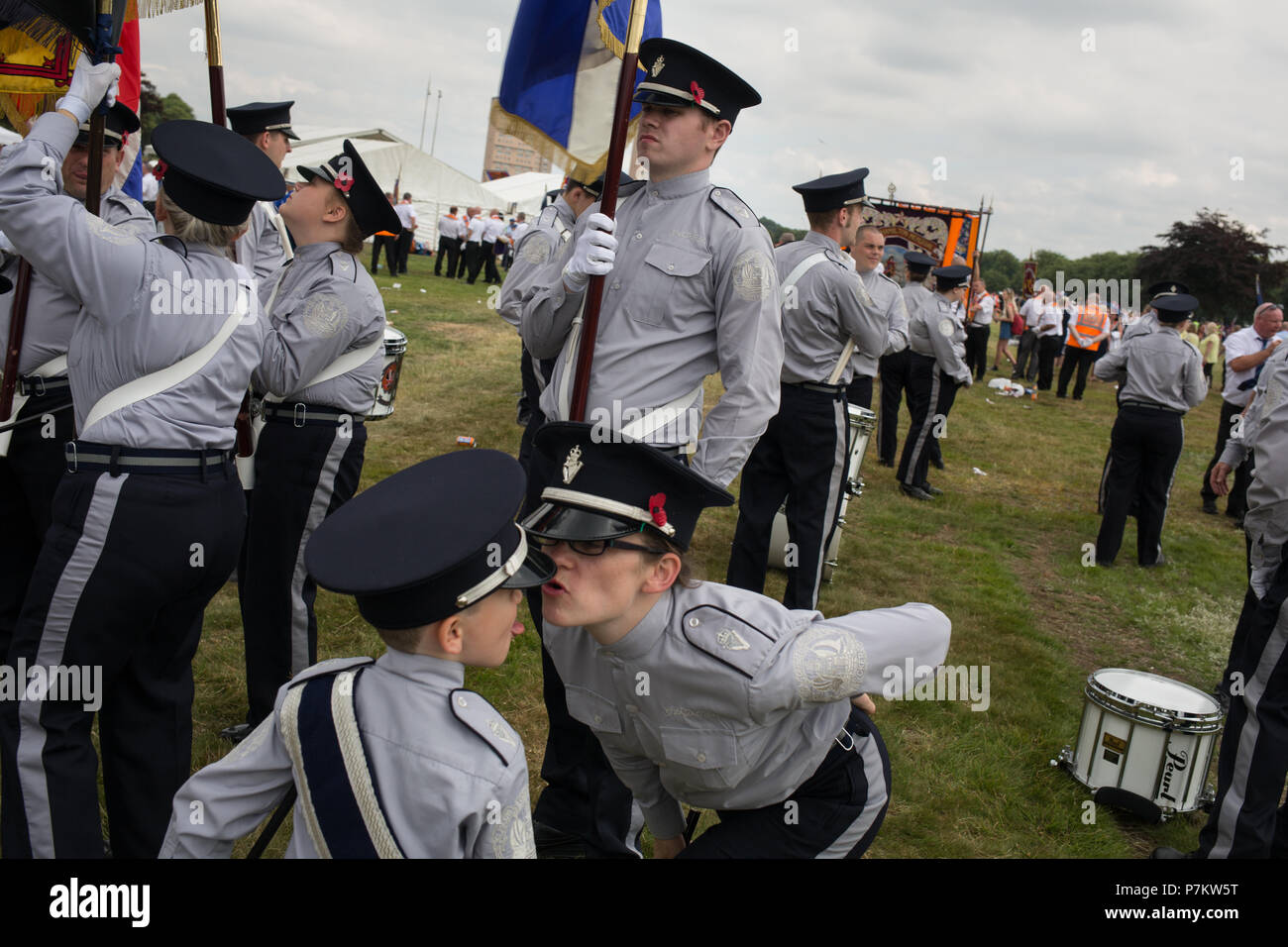 Glasgow, Scotland, on 7 July 2018. The annual Parade of Orange Order Lodge bands, organised by County Grand Orange Lodge of Glasgow.  The annual prade celebrates Prince William of Orange's victory over King James II at the Battle of the Boyne in 1690. Image Credit: Jeremy Sutton-Hibbert/Alamy Live News. - Stock Image
