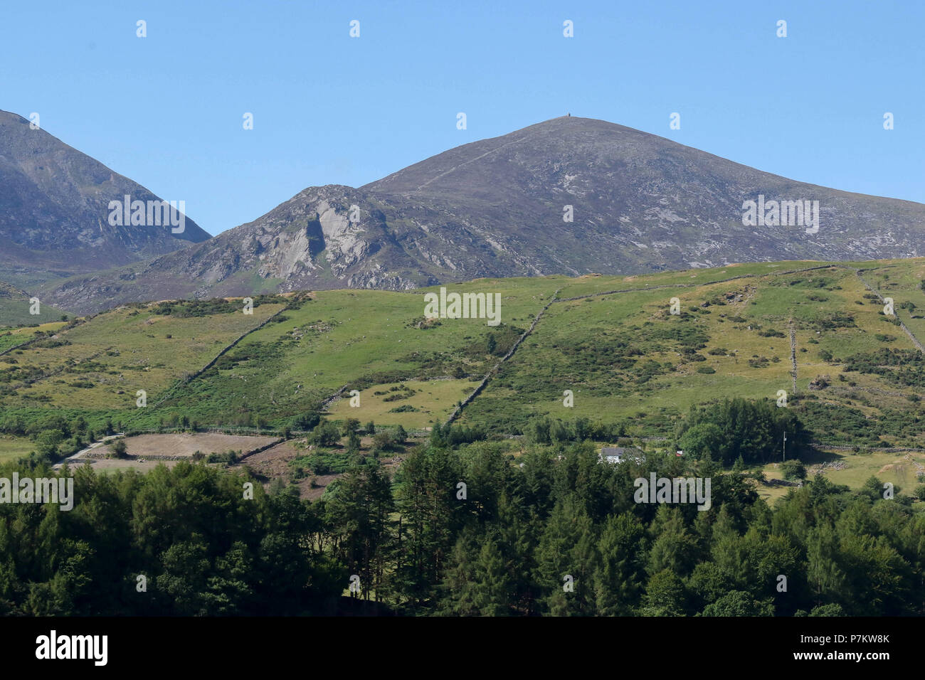 Mountains of Mourne, County Down, Northern Ireland. 07 July 2018. UK weather - warm with sunny periods and variable cloud in the Mournes as the warm dry settled weather continues. The Mournes and Slieve Meelmore on yet another warm summer day. Credit: David Hunter/Alamy Live News. - Stock Image