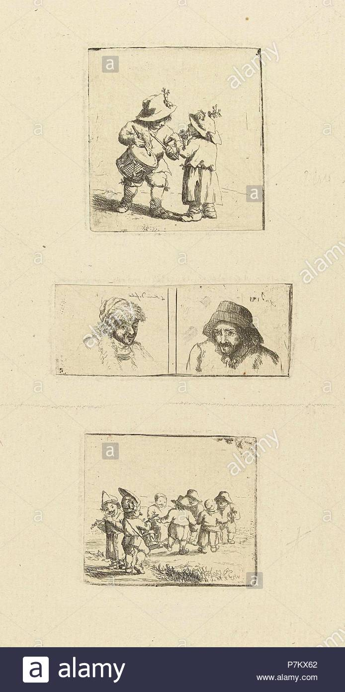 Musicerende children and two pivotal studies, Marie Lambertine Coclers, 1776 - 1815. - Stock Image
