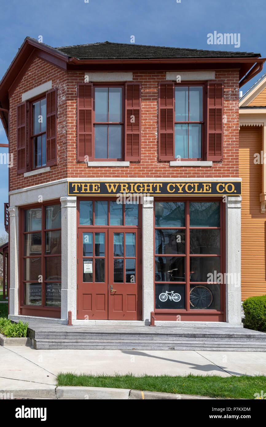 Dayton, Ohio - The Wright Cycle Co. at the Dayton Aviation Heritage National Historical Park. Wilbur and Orville Wright built their first airplane her - Stock Image
