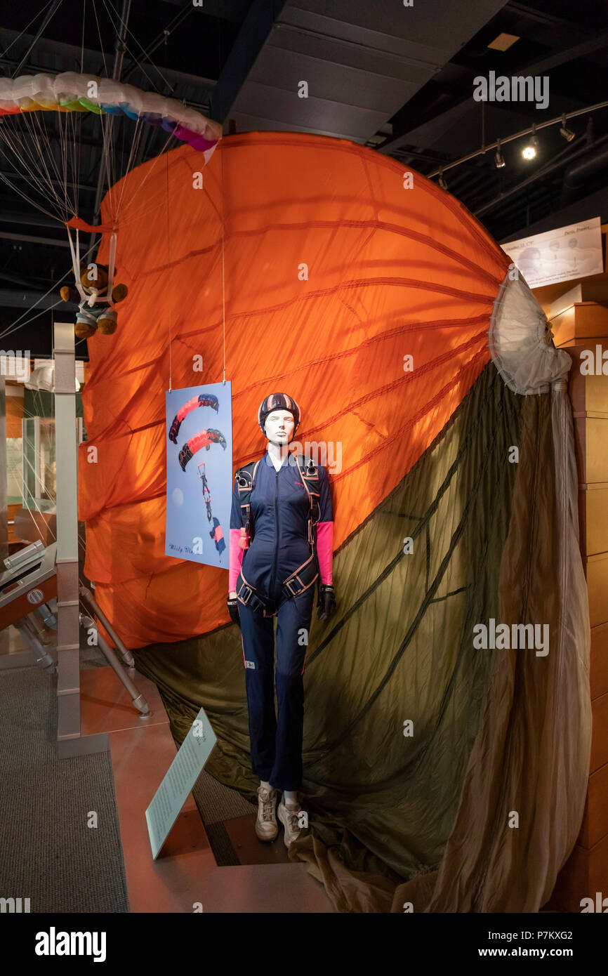Dayton, Ohio - The Parachute Museum at the Dayton Aviation Heritage National Historical Park. The park includes six sites related to the invention of  - Stock Image