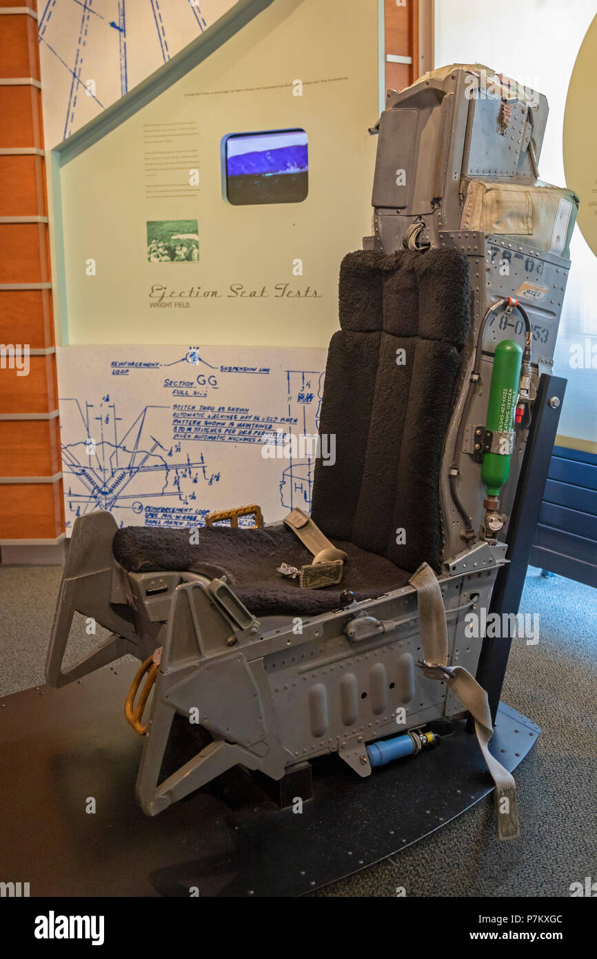 Dayton, Ohio - An ejection seat in the Parachute Museum at the Dayton Aviation Heritage National Historical Park. The park includes six sites related  - Stock Image
