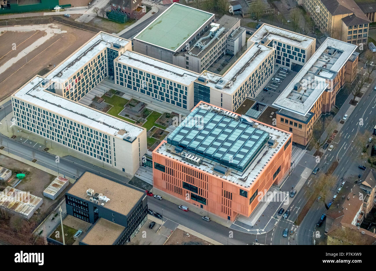 The New Justice Center on Ostring in Bochum in the state of North Rhine-Westphalia. The new buildings will be inaugurated shortly, Bochum, Ruhrgebiet, North Rhine-Westphalia, Germany - Stock Image
