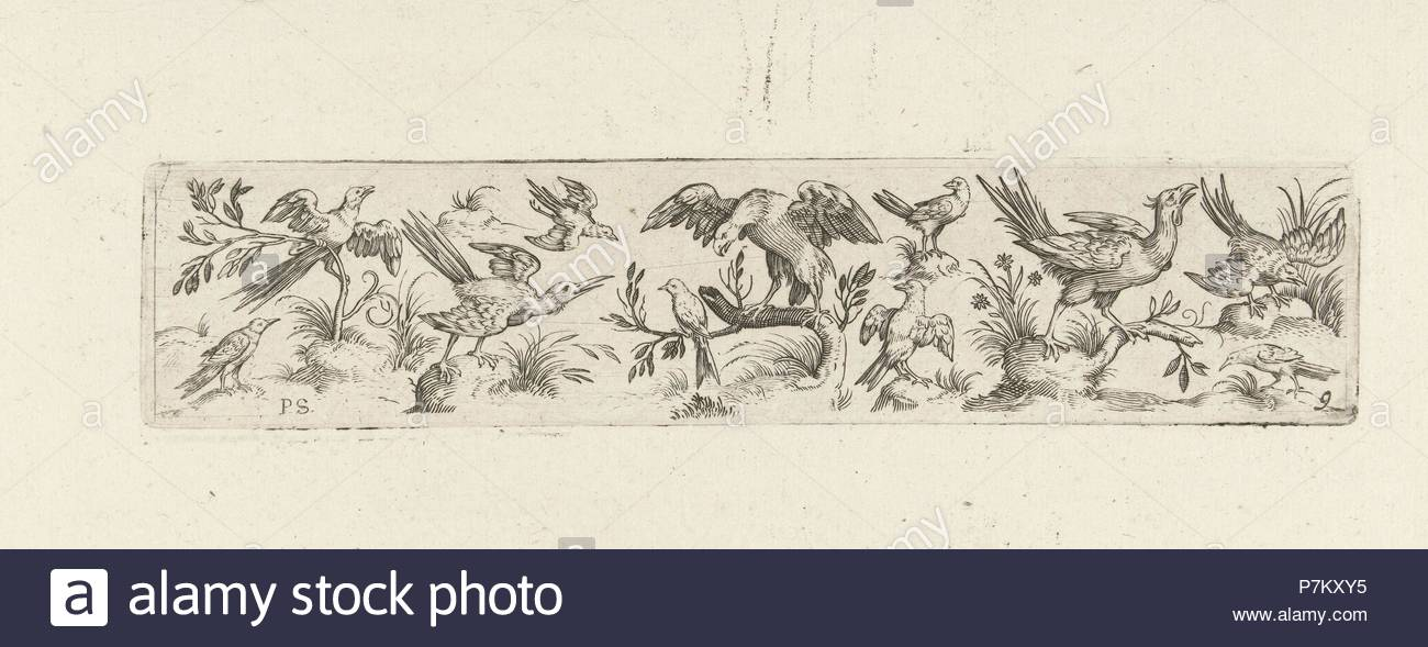 Frieze with eleven birds, in the middle is a large bird on a branch, print maker: Pieter Serwouters, Hans Collaert I, Marcus Geeraerts, c. 1607. - Stock Image