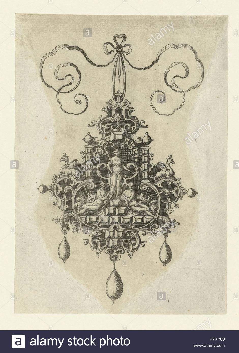 Pendant with in the middle a peace goddess with palm branch, Anonymous, Hans Collaert I, Philips Galle, 1581. - Stock Image