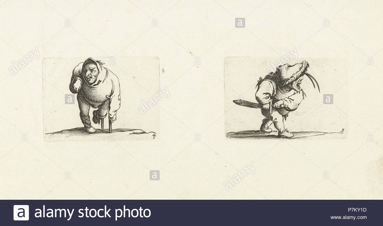 Dwarf, from the front, leaning on a crutch, a hood or large collar on the head, right arm raised cramped, with grotesques, almost all these figures are dwarfs, many are hunchbacked, Jacques Callot, Dating 1621 - 1676. - Stock Image