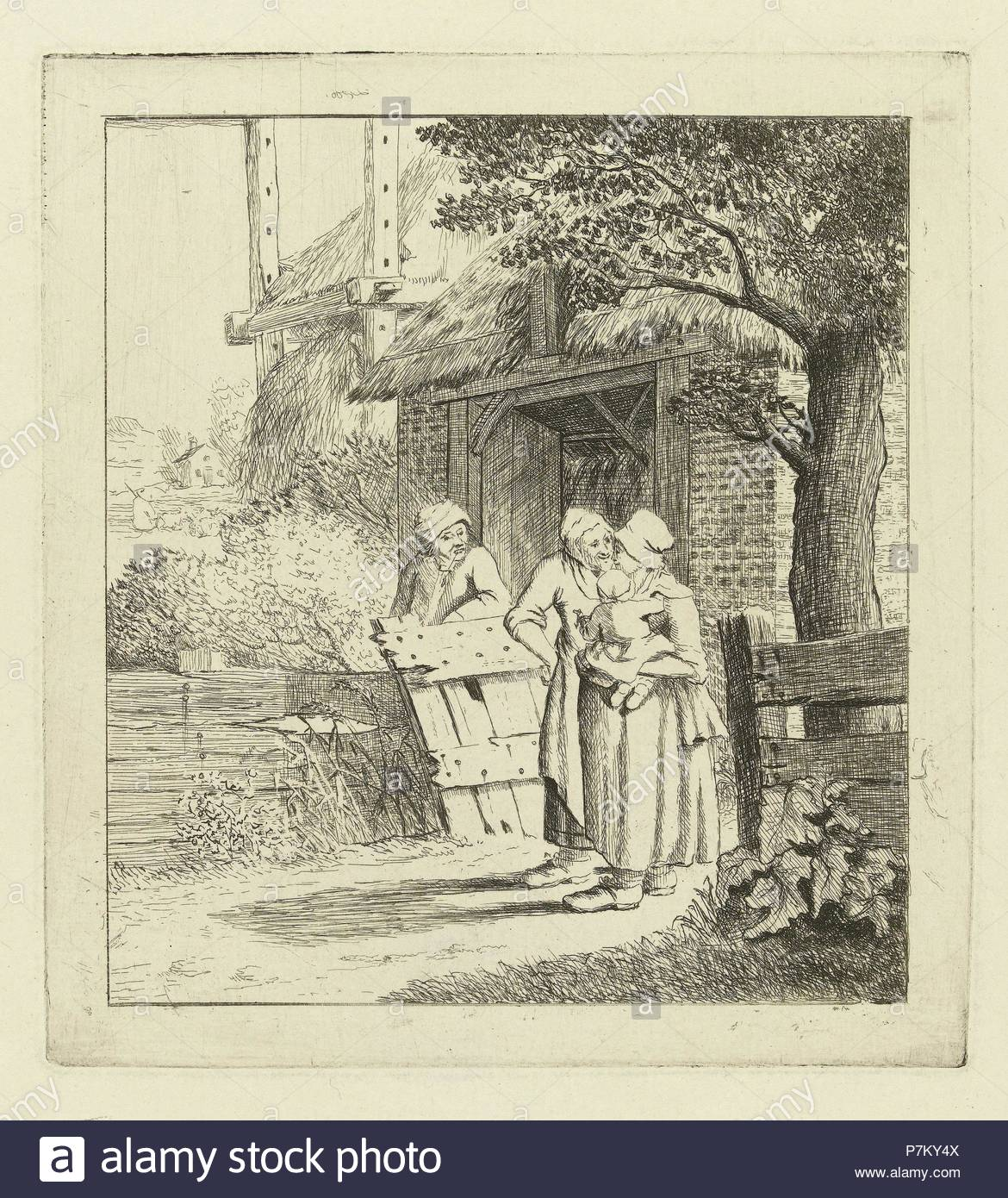 Two women and a man on a farm, Marie Lambertine Coclers, c. 1776 - c. 1815. - Stock Image