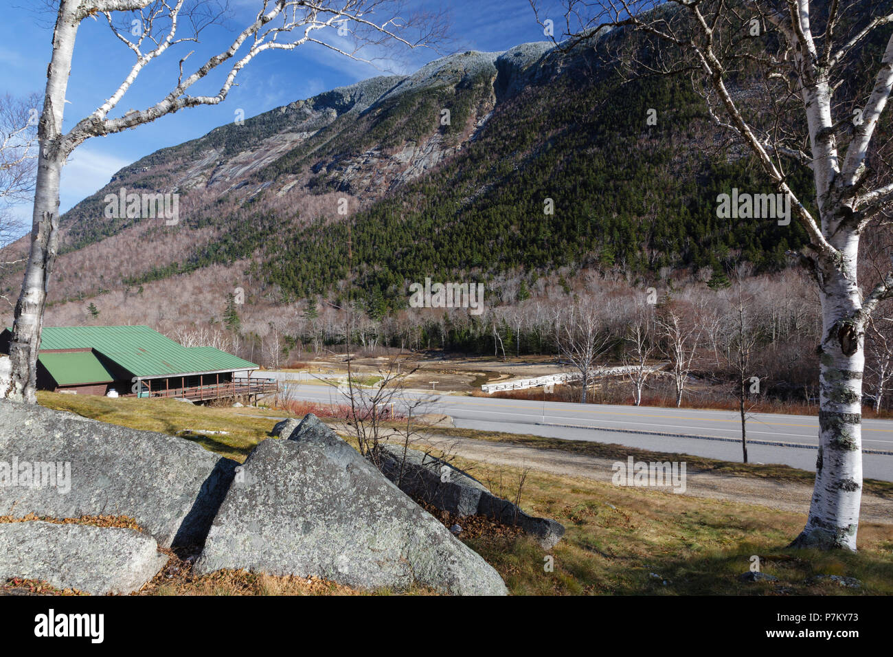 Crawford Notch State Park in Hart's Location, New Hampshire USA during the autumn months. Stock Photo