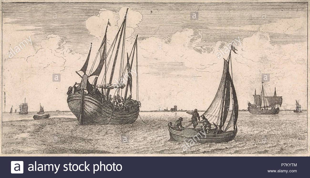 Mooring of the mail boat, print maker: Joost van Geel attributed to, Jacob Quack, 1665. - Stock Image