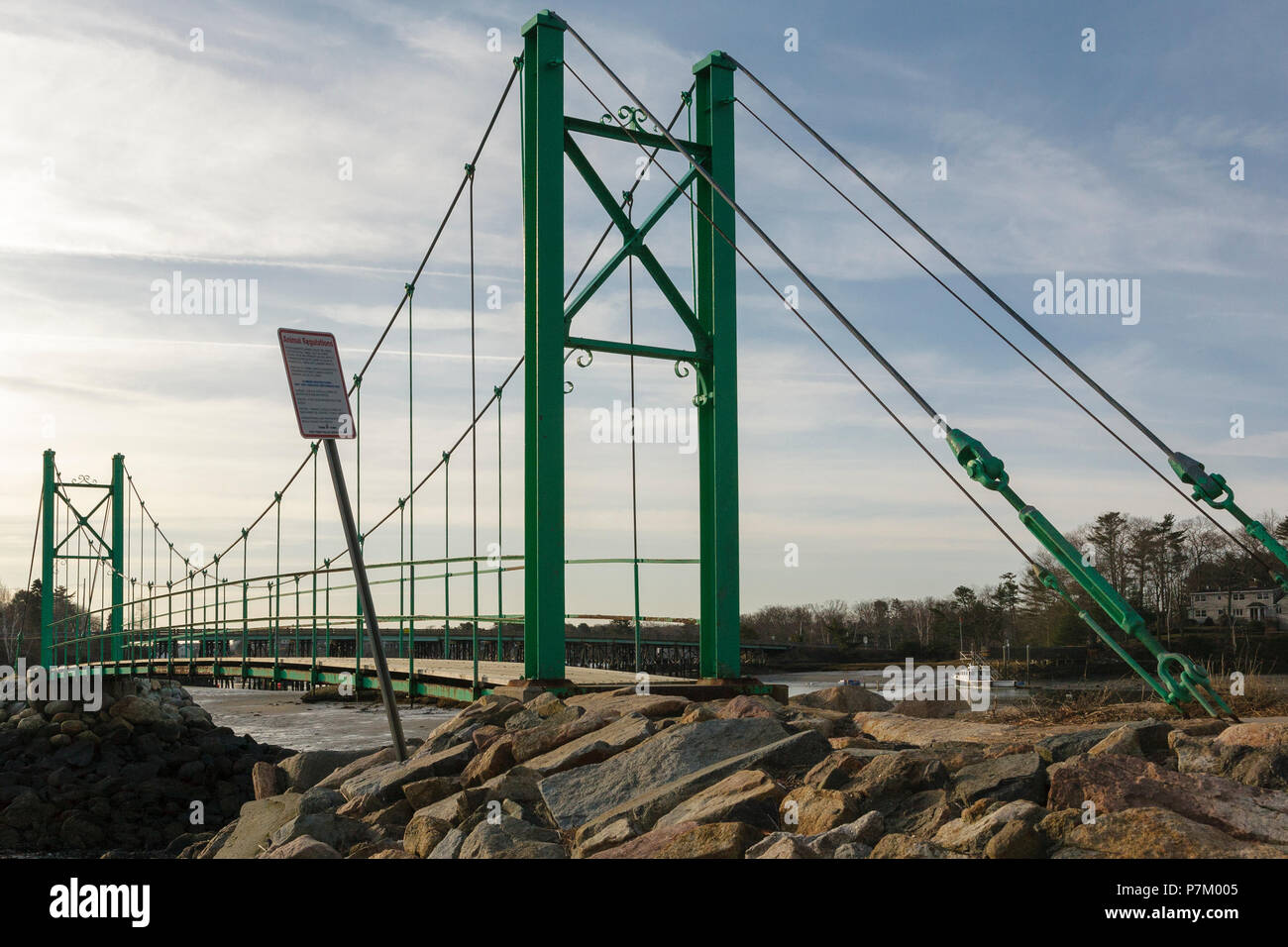 Wiggly Bridge in York, Maine USA during the spring months. This small foot bridge was built in the 1930s and wiggles while you walk across it. Stock Photo