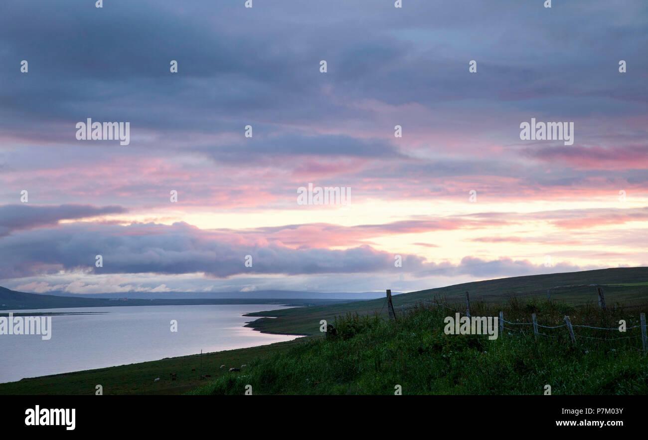 Mountains, lake, Svinavatn, Iceland, landscape Stock Photo