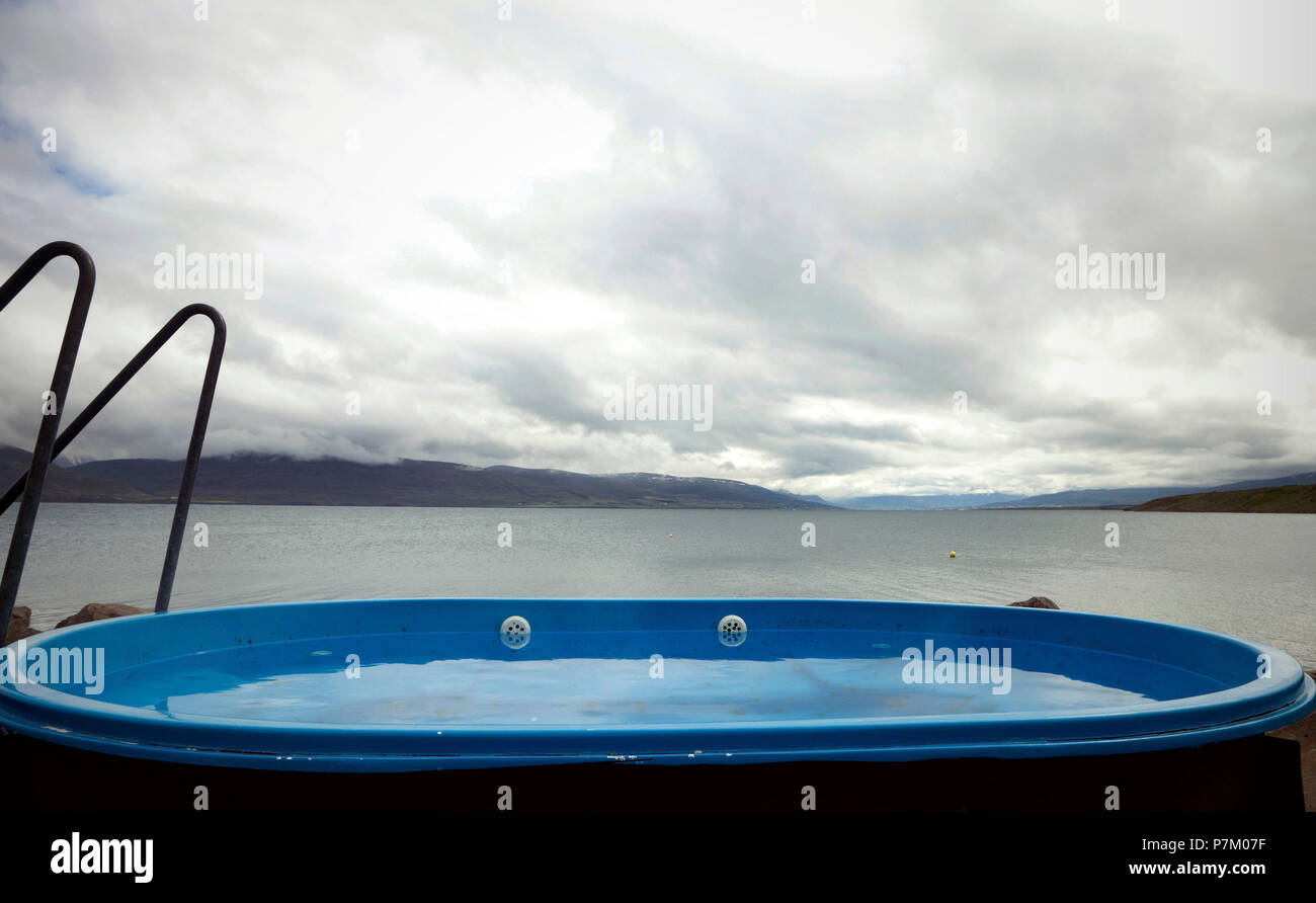 Pool, mountains, Iceland, Akureyri - Stock Image