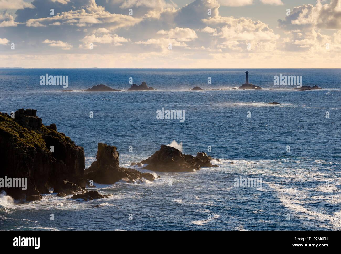 Longship Lighthouse, Longships Lighthouse, Land's End, Cornwall, England, UK - Stock Image