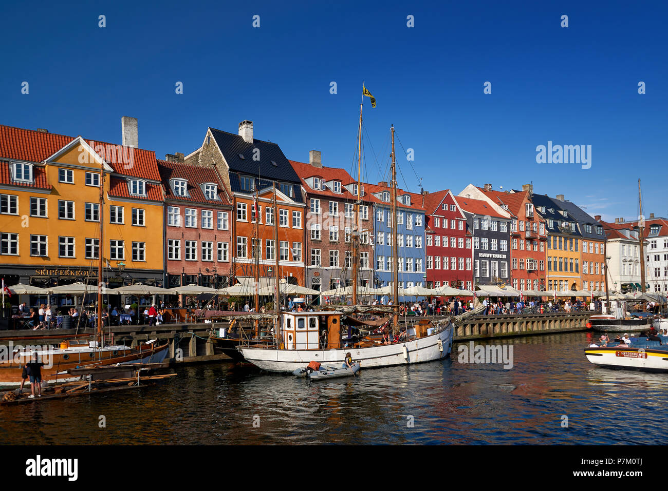 touristic distric nyhavn in capital of denmark copenhagen - Stock Image