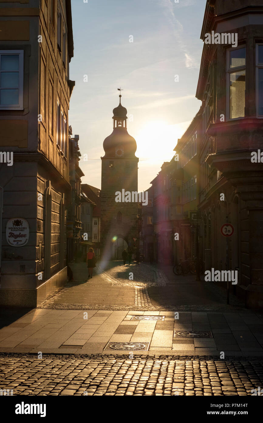Jew tower and Jew alley, old town Coburg, Upper Franconia, Franconia, Bavaria, Germany - Stock Image