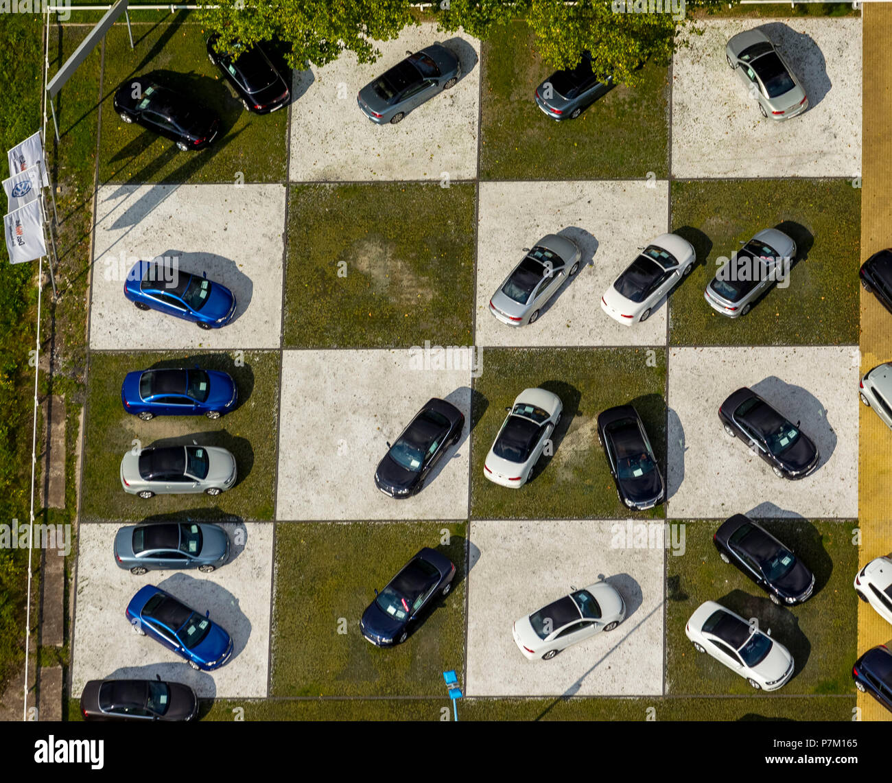 Aerial Photo Car Sales On A Chessboard Checkerboard Pattern Car