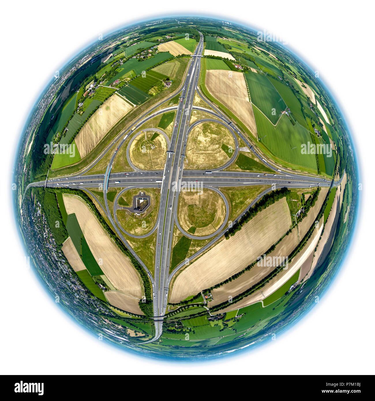 Fisheye lens, view of Kamener Kreuz interchange, A2 and A1 German Autobahnen (motorways), cloverleaf interchange, Kamen, Ruhr area, North Rhine-Westphalia, Germany - Stock Image