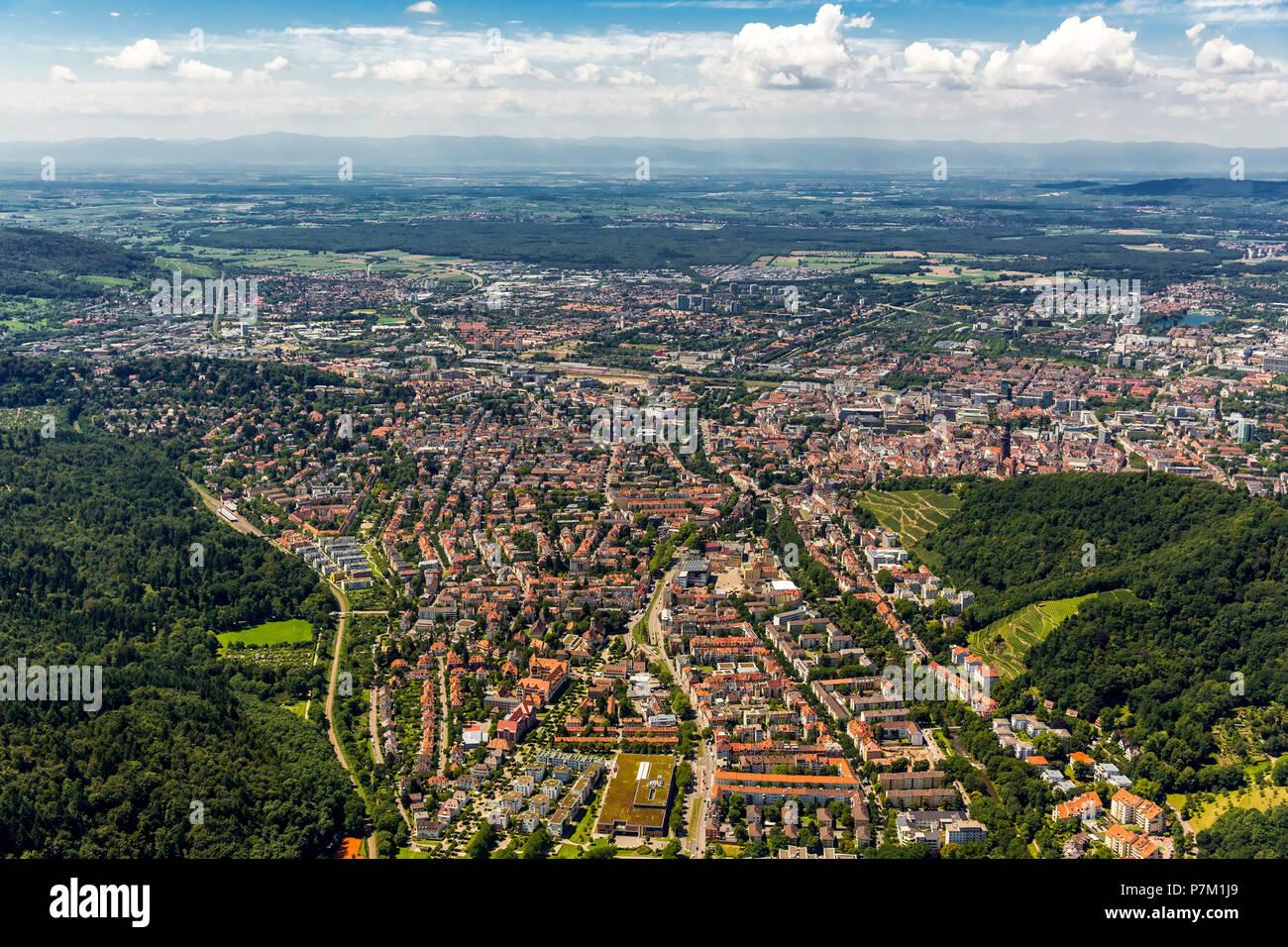 Arial view of Freiburg, Freiburg im Breisgau, Breisgau, Baden-Wuerttemberg, Germany - Stock Image