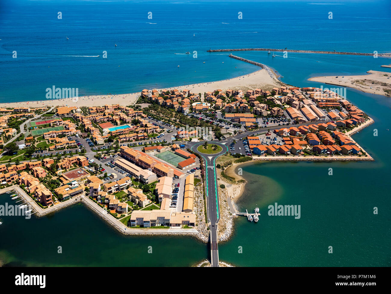 Port Leucate, holiday complexes, tourist resort, Leucate, Aude department, Occitanie region, France - Stock Image