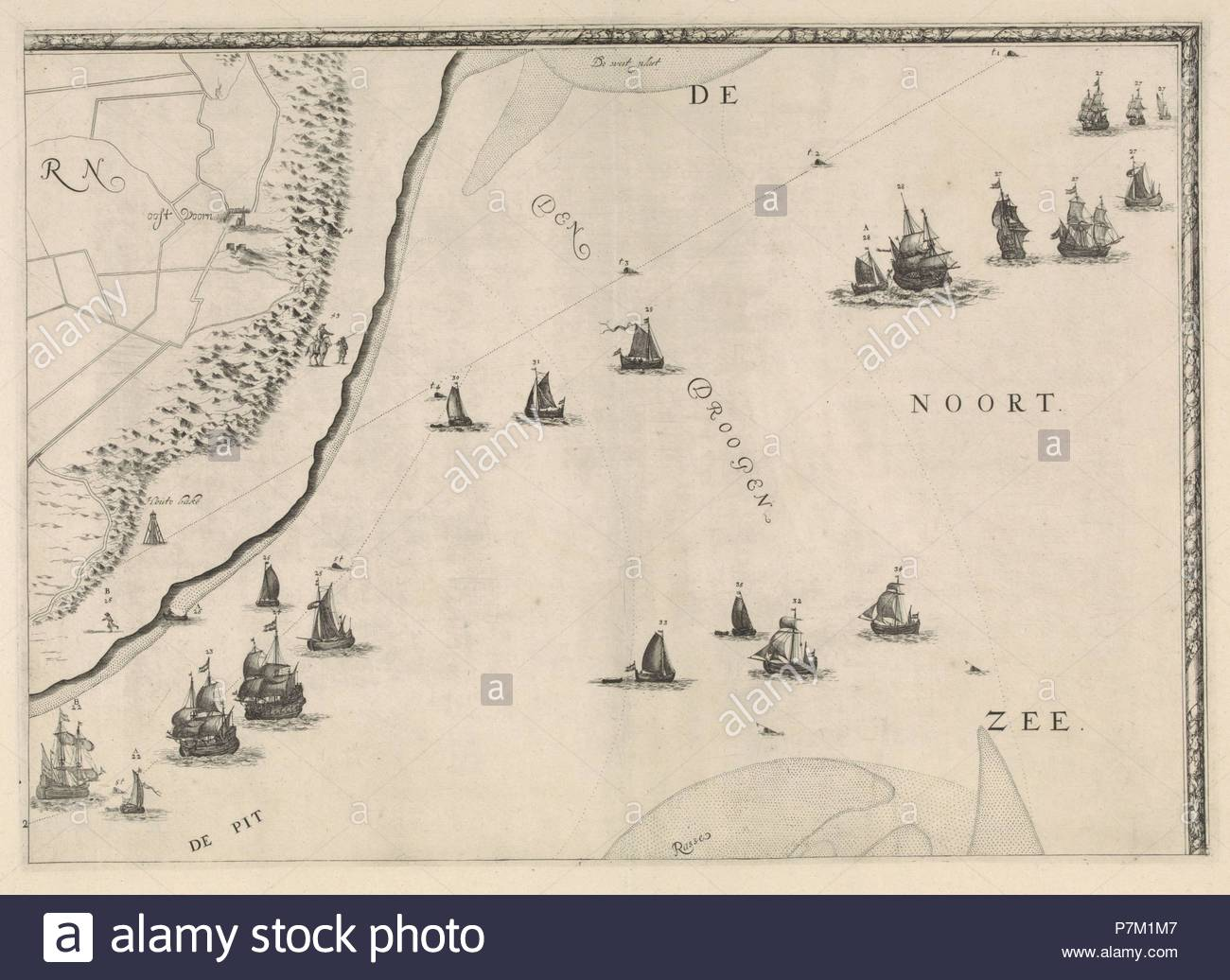 Map of the North Sea and the coast of Holland, Jacob Quack, 1665. - Stock Image