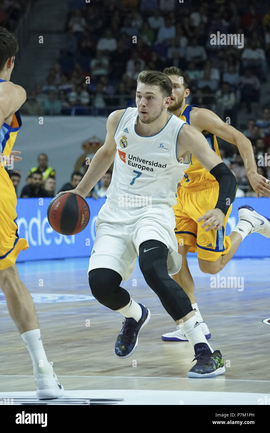 e90d2f9a7 Real Madrid s Luka Doncic during the second ACB League playoff semi-final match  between Real Madrid and Herbalife Gran Canaria at the Wizink Center ...
