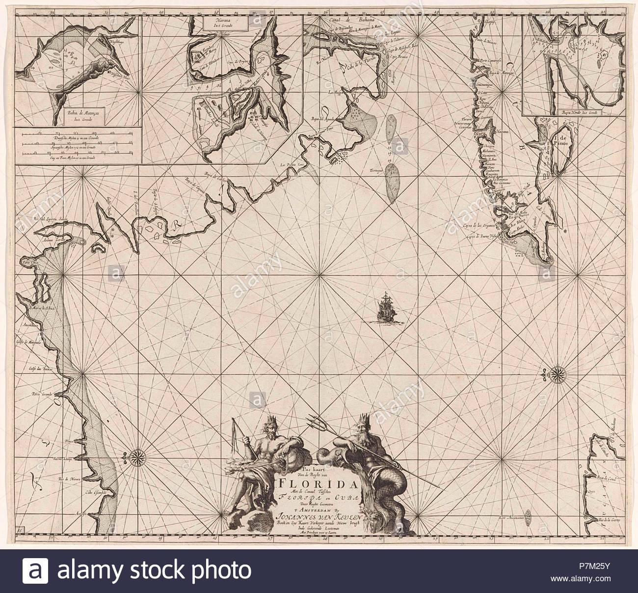 Sea chart of part of the Gulf of Mexico, with the coast of Florida, Jan Luyken, Claes Jansz Voogt, Johannes van Keulen (I), 1684 - 1799. - Stock Image