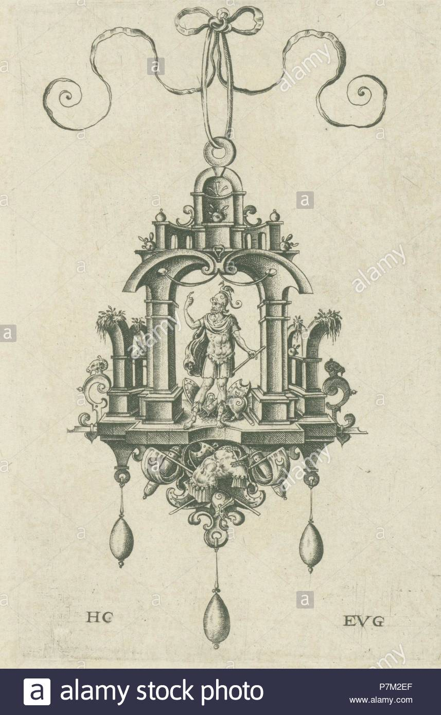 Pendant (pendeloque) Mars, Hans Collaert (I), Anonymous, 1555 - 1576. - Stock Image