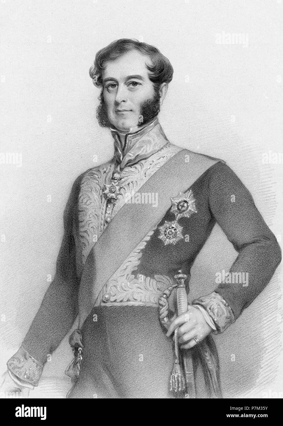 2nd  Duke of BuckinghamAndChandos. by Richard James Lane, lithograph, circa 1825-1850 - Stock Image