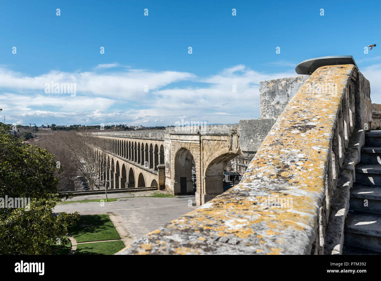 Montpellier, Herault, France, Saint-Clément aqueduct in the old town of Montpellier in the Languedoc Roussillon region Stock Photo