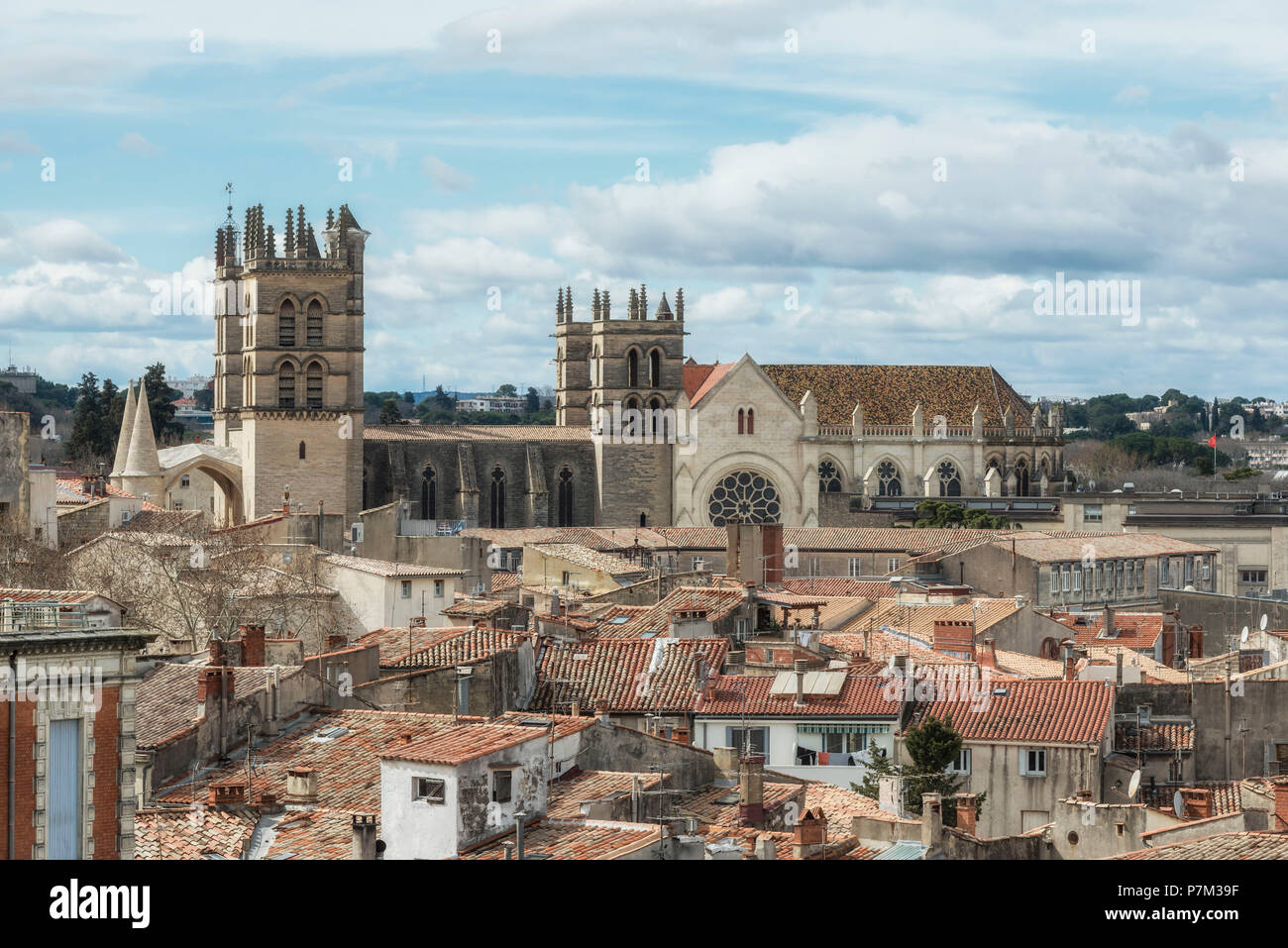 Montpellier, Herault, France, View over the old town with the 16th century cathedral Saint-Pierre de Montpellier. - Stock Image