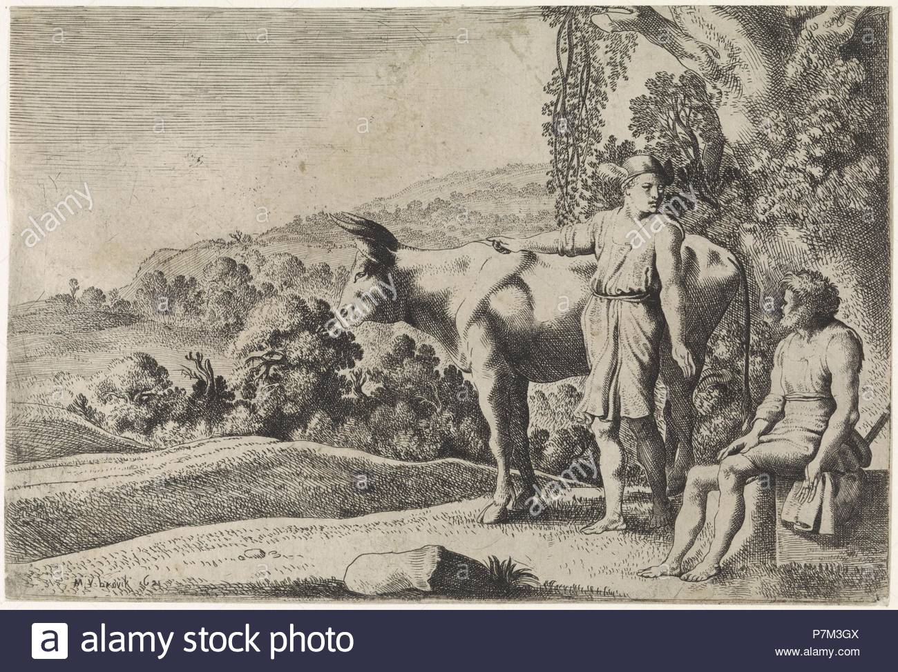 Mercury is pointing to the cow Io and looks at Argus, which sits on a stone block, scene from Ovid's Metamorphoses, Met. I, 679-688, print maker: Moyses van Wtenbrouck (mentioned on object), Dating 1621. - Stock Image
