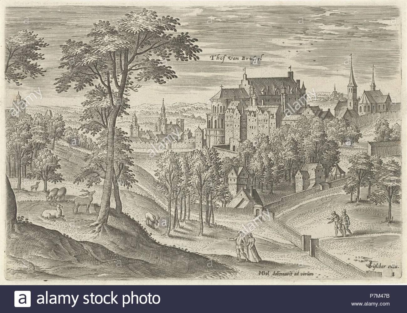 View of the Slot Hof of Brussels, Belgium, Hans Collaert I, Claes Jansz. Visscher II, 1530 - 1580. - Stock Image