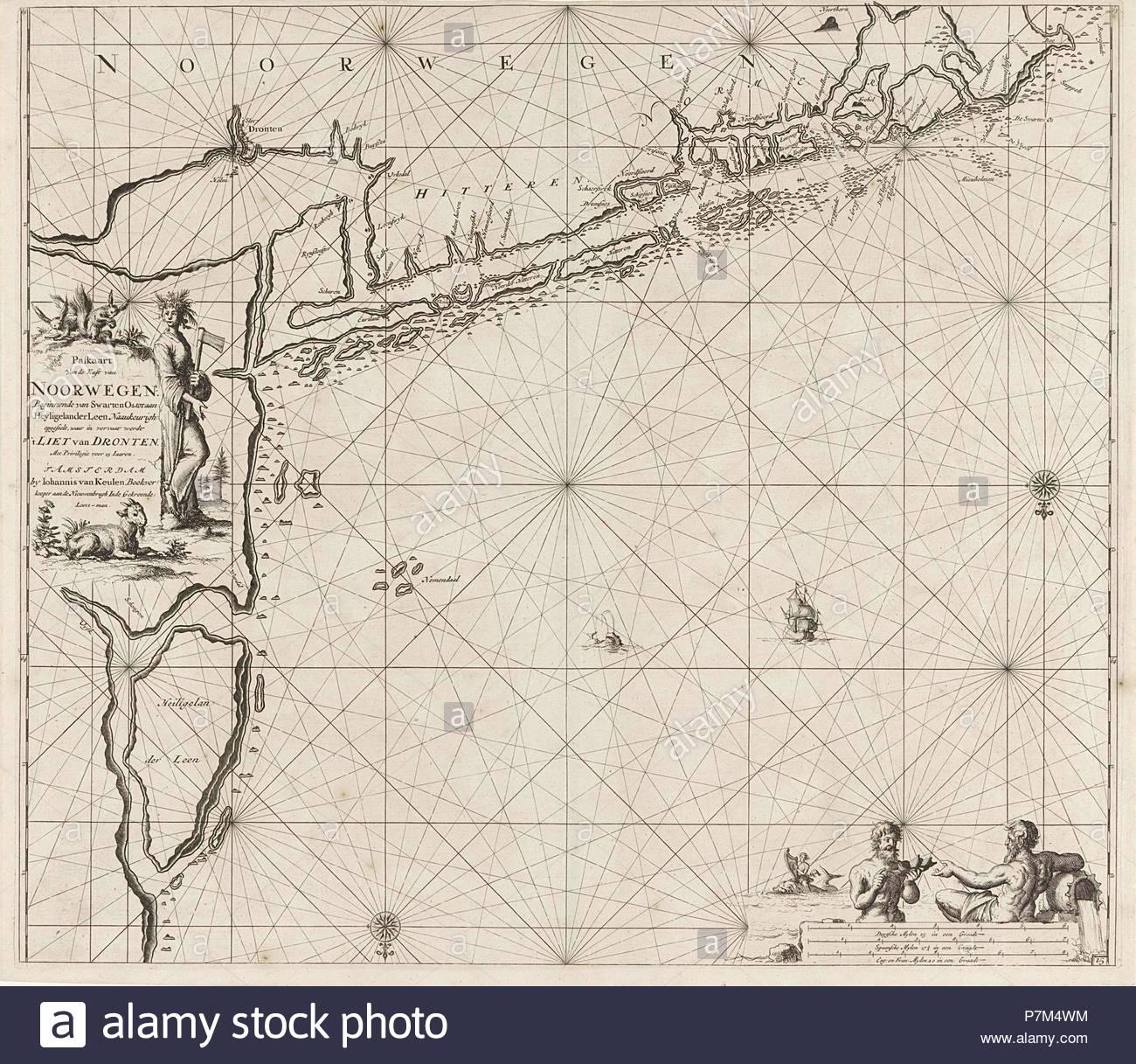 Sea chart of the coast of Norway near Trondheim, Jan Luyken, Johannes van Keulen (I), unknown, 1681 - 1799. - Stock Image