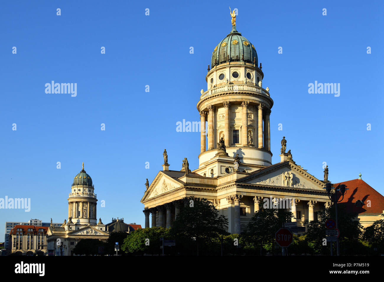 Germany, Berlin, Mitte district, Gendarmenmarkt square, French church built between 1701 and 1705 by architects Louis Gayard and Abraham Quesnay and the Deutscher Dom (German cathedral) Stock Photo