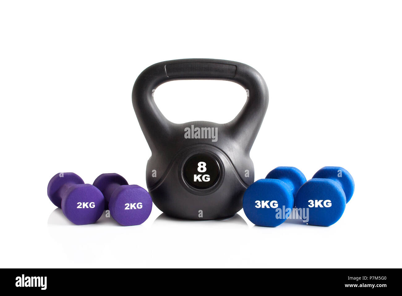 Gym exercise equipment isolated on a white background. - Stock Image