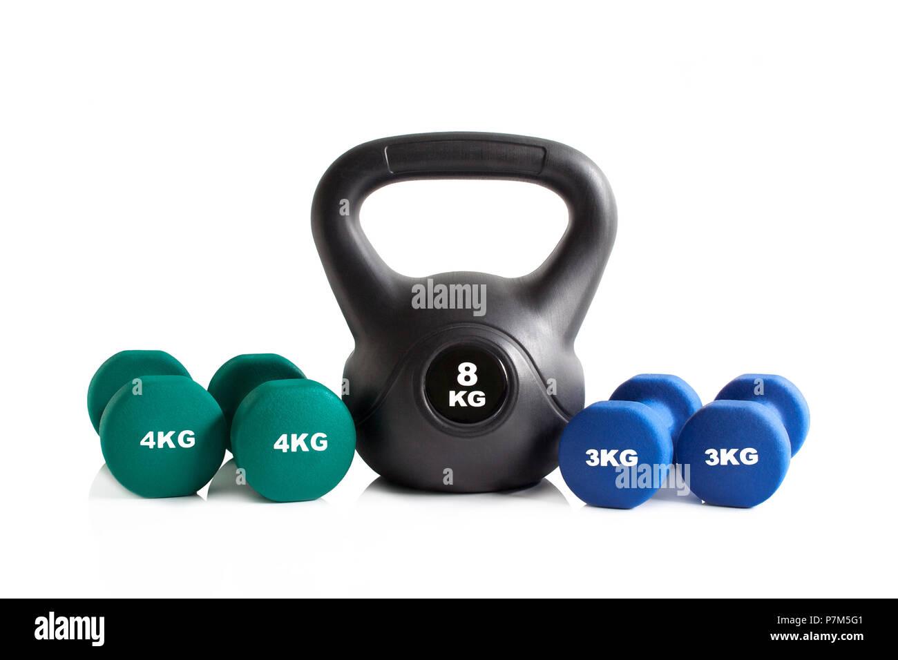 Gym exercise equipment set isolated on a white background. - Stock Image