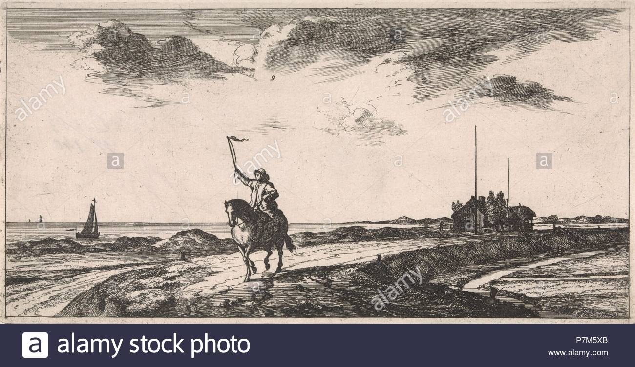 Postman riding along the beach, Jacob Quack, Jan Houwens (I), 1665. Stock Photo