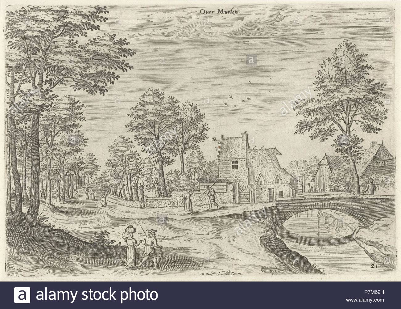 View of the road to Brussels, Belgium, print maker: Hans Collaert I, Hans Bol, Jacob Grimmer attributed to, 1530 - 1580. - Stock Image