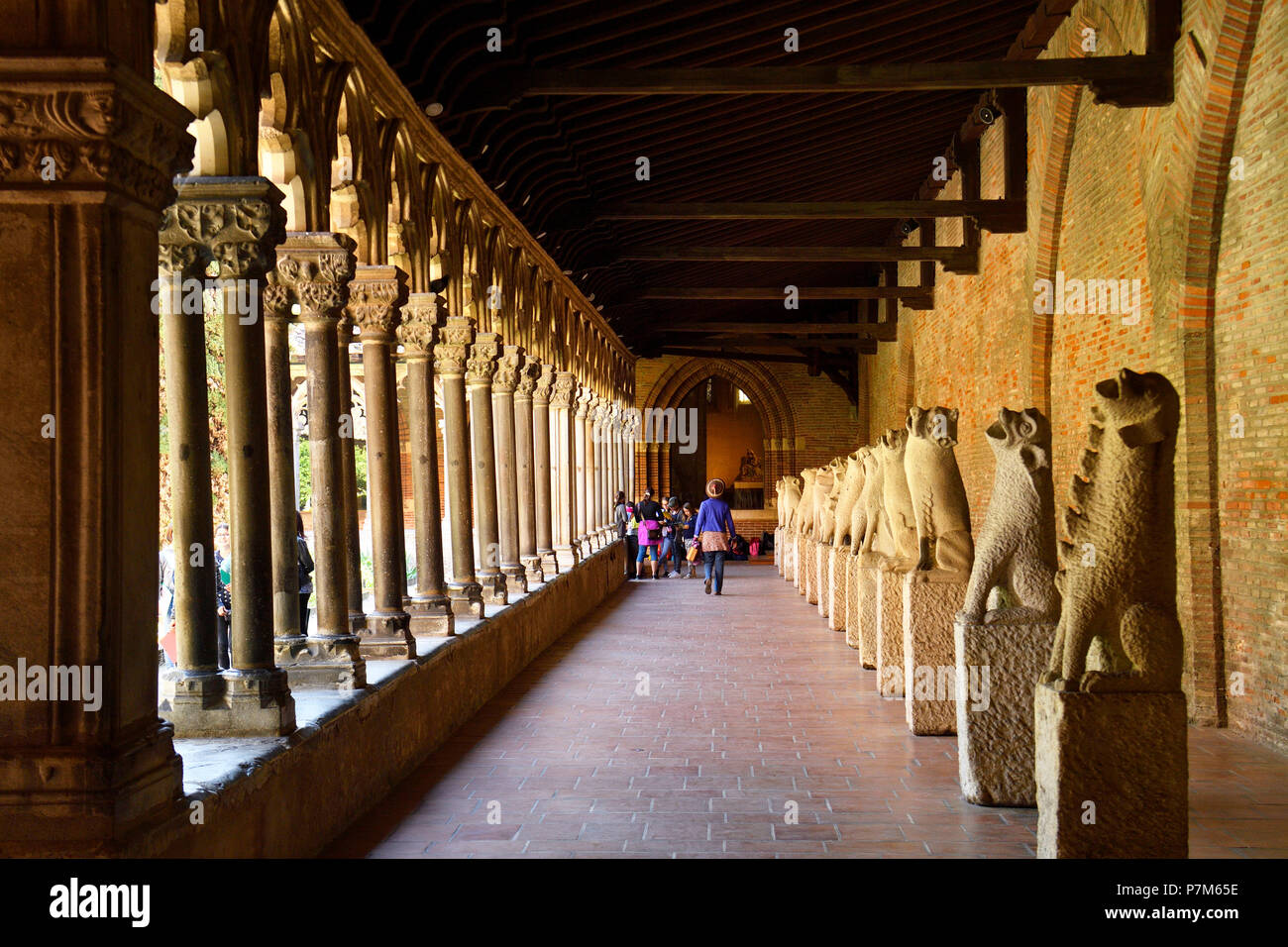 France, Haute Garonne, Toulouse, Augustins museum in the former Augustins convent, the cloister, Gargoyles from the Cordeliers Monastery, 13th century - Stock Image
