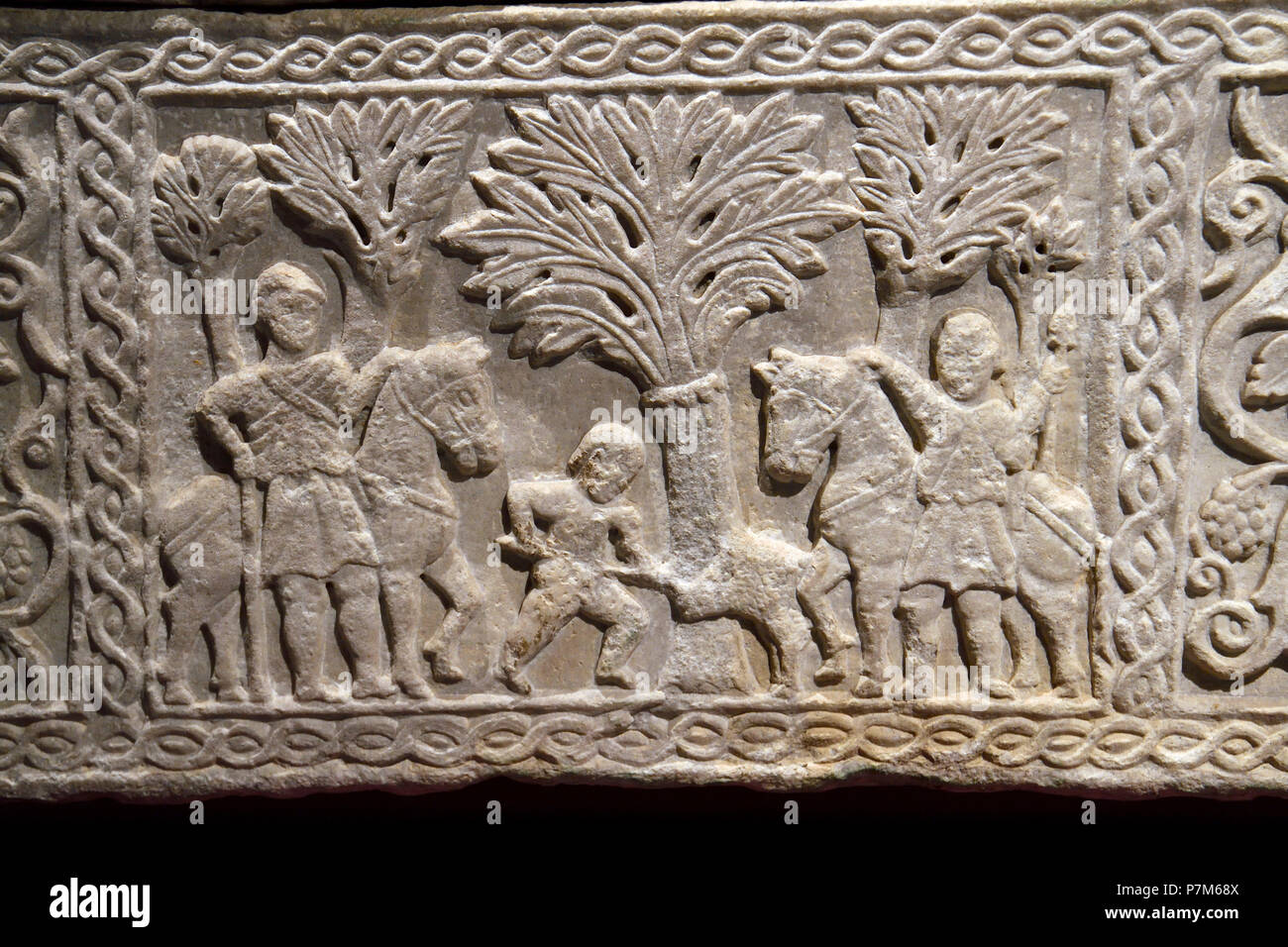 France, Haute Garonne, Toulouse, St. Raymond Museum, Carved sarcophagus - Stock Image