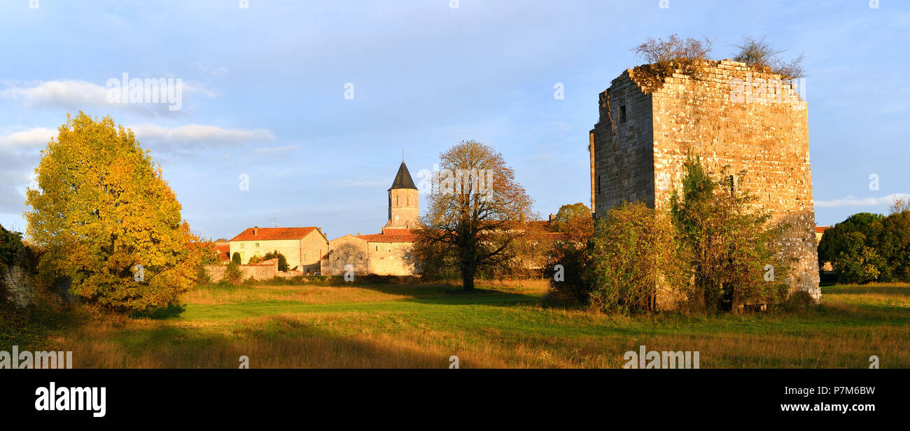 France, Charente, Tusson, on the road of Santiago de Compostela, the village and the ruins of the abbey - Stock Image