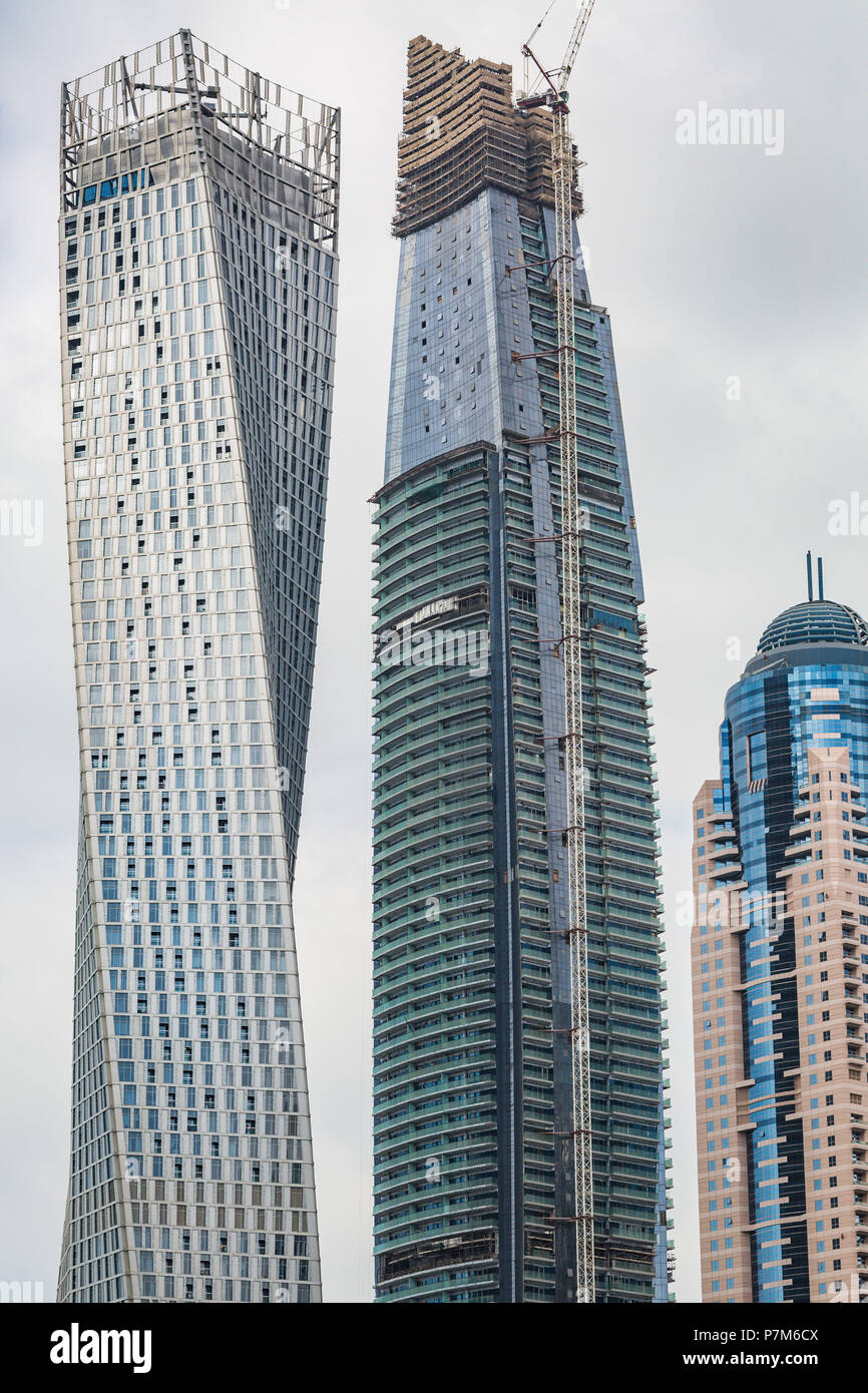 Perspective detailed view at a skyscrapers in Dubai, United Arab Emirates, Construction of a skyscraper - Stock Image