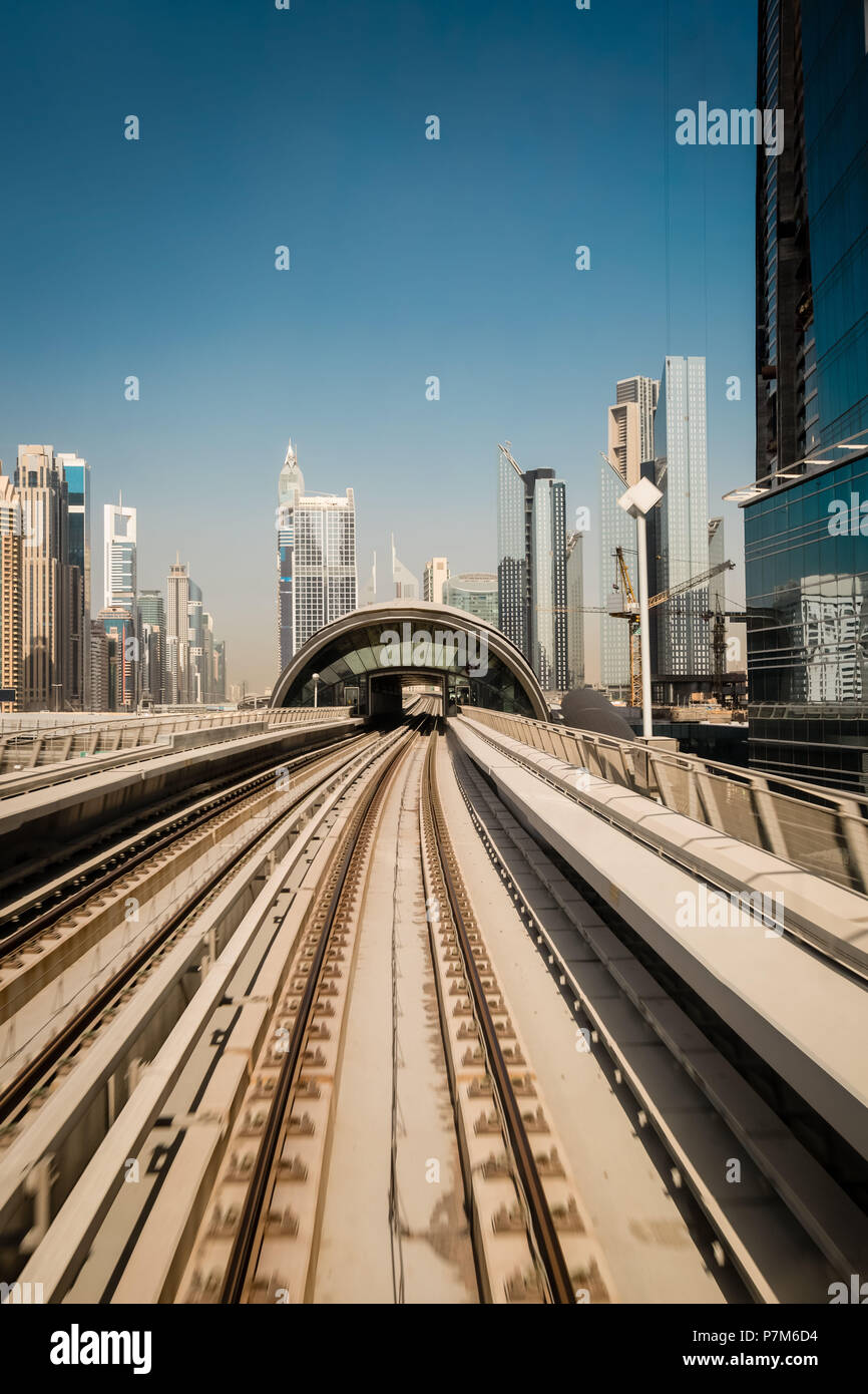 Metro tracks in Sheikh Zayed Road, Dubai, United Arab Emirates - Stock Image