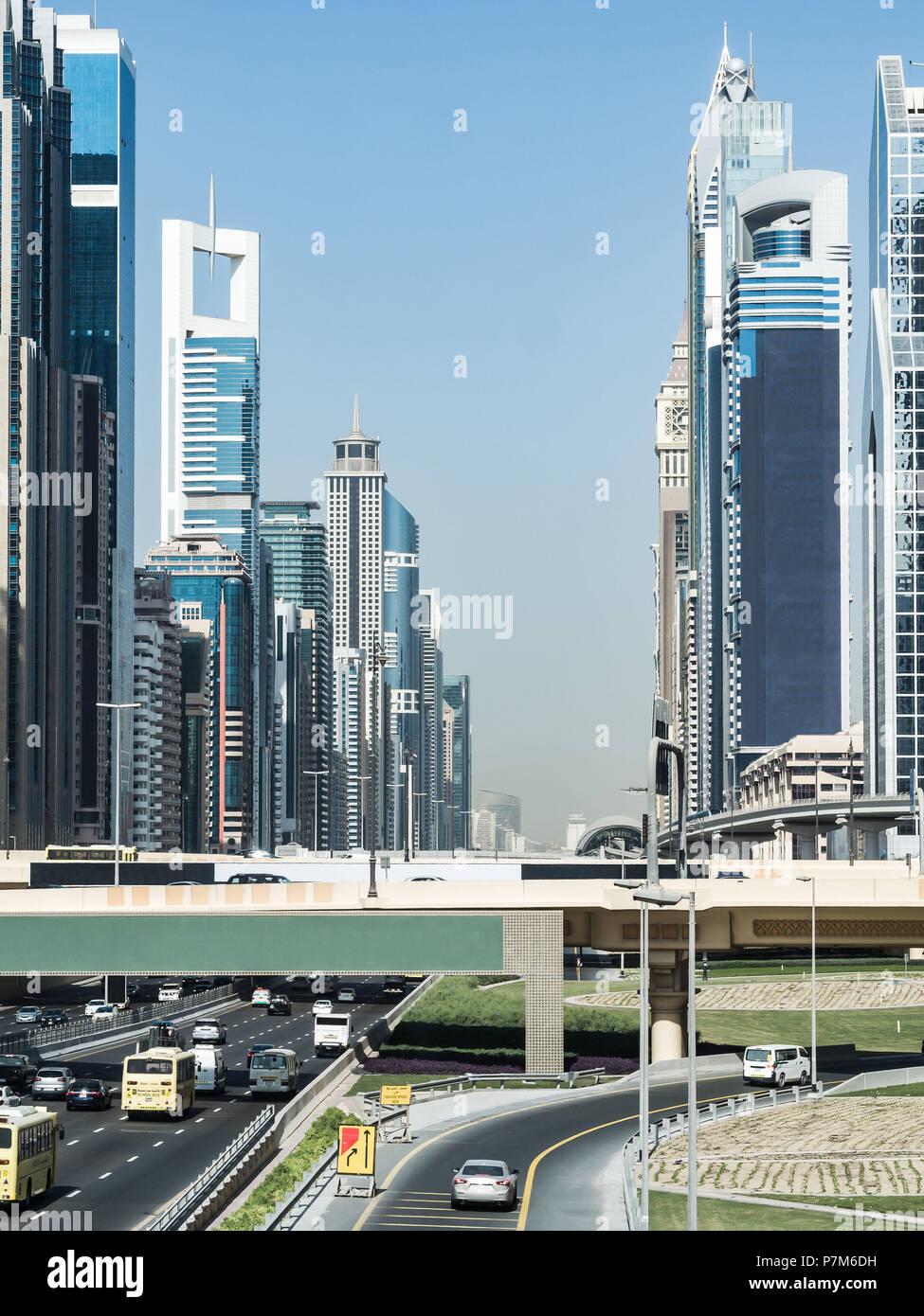 Scenic downtown skyline by day, Dubai, United Arab Emirates - Stock Image