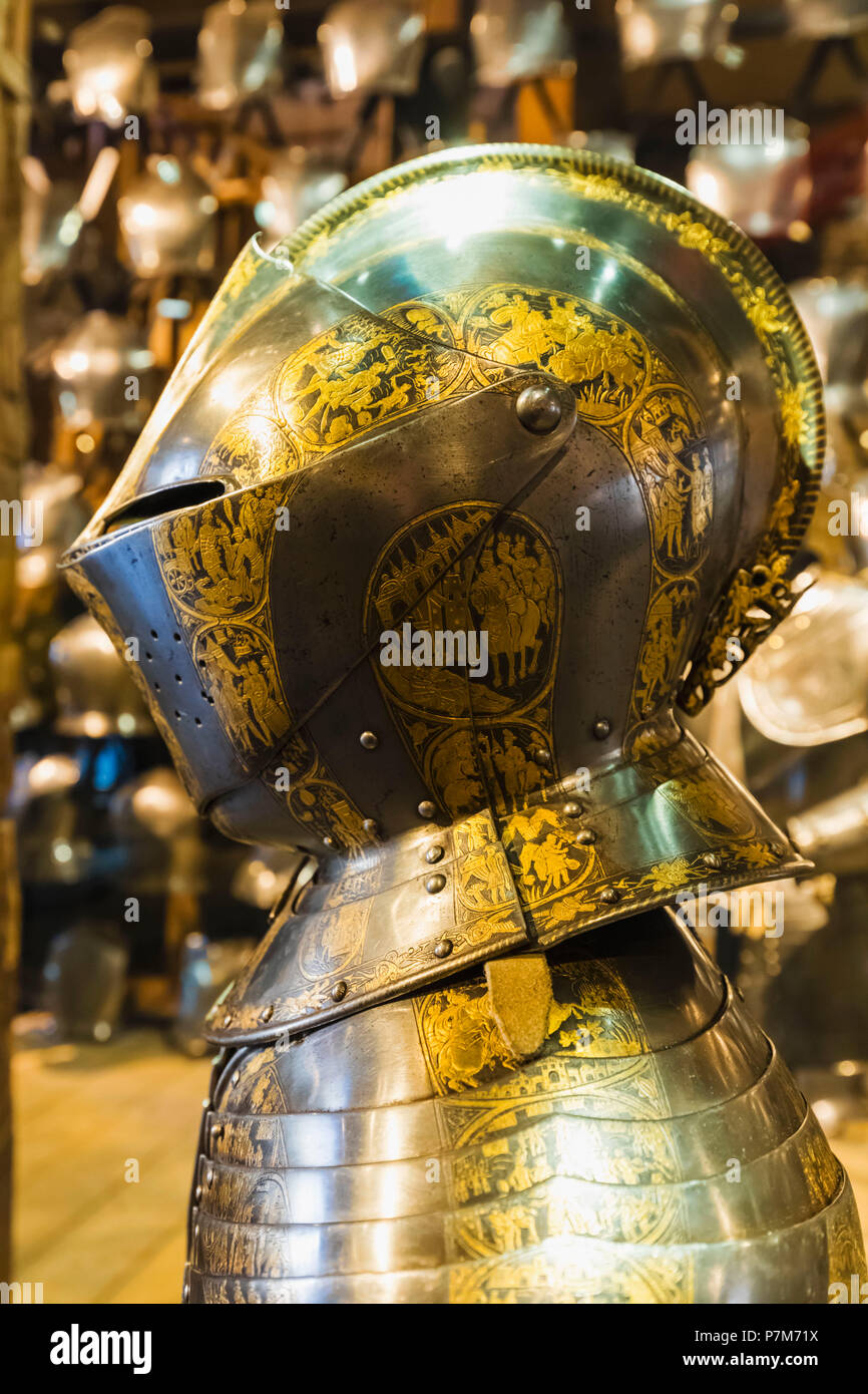 England, London, Tower of London, The White Tower, Display of the Armour of Henry, Prince of Wales dated about 1607 - Stock Image
