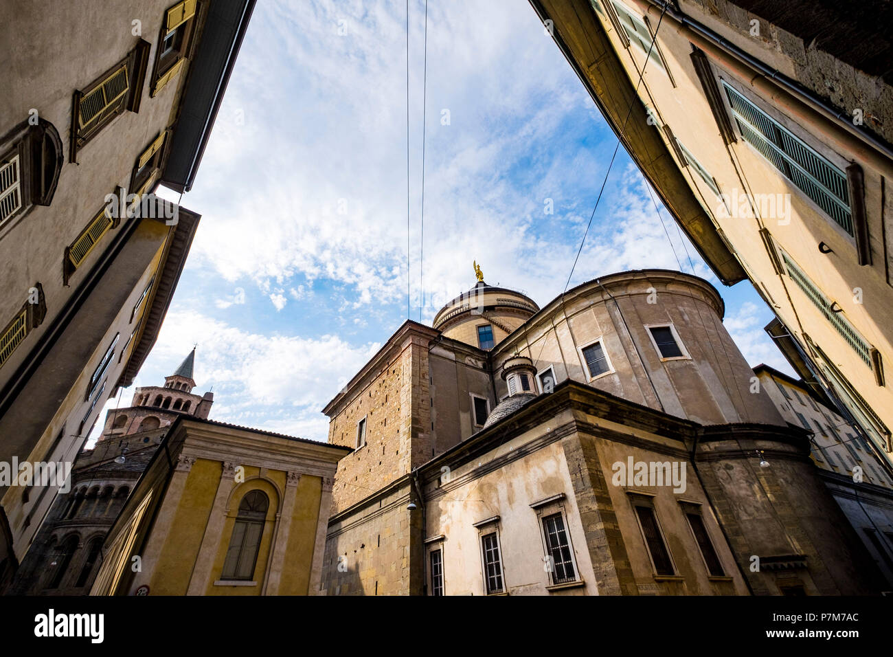 The upper area of the city of Bergamo is the most visited by tourism due to the architectural and historical richness - Stock Image